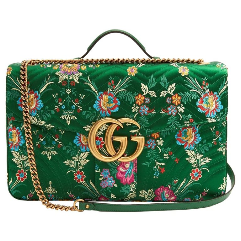 New GUCCI Green Marmont GG Oversized Maxi Floral Jacquard Shoulder Bag For Sale