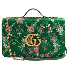 418462bcc New GUCCI Green Marmont GG Oversized Maxi Floral Jacquard Shoulder Bag