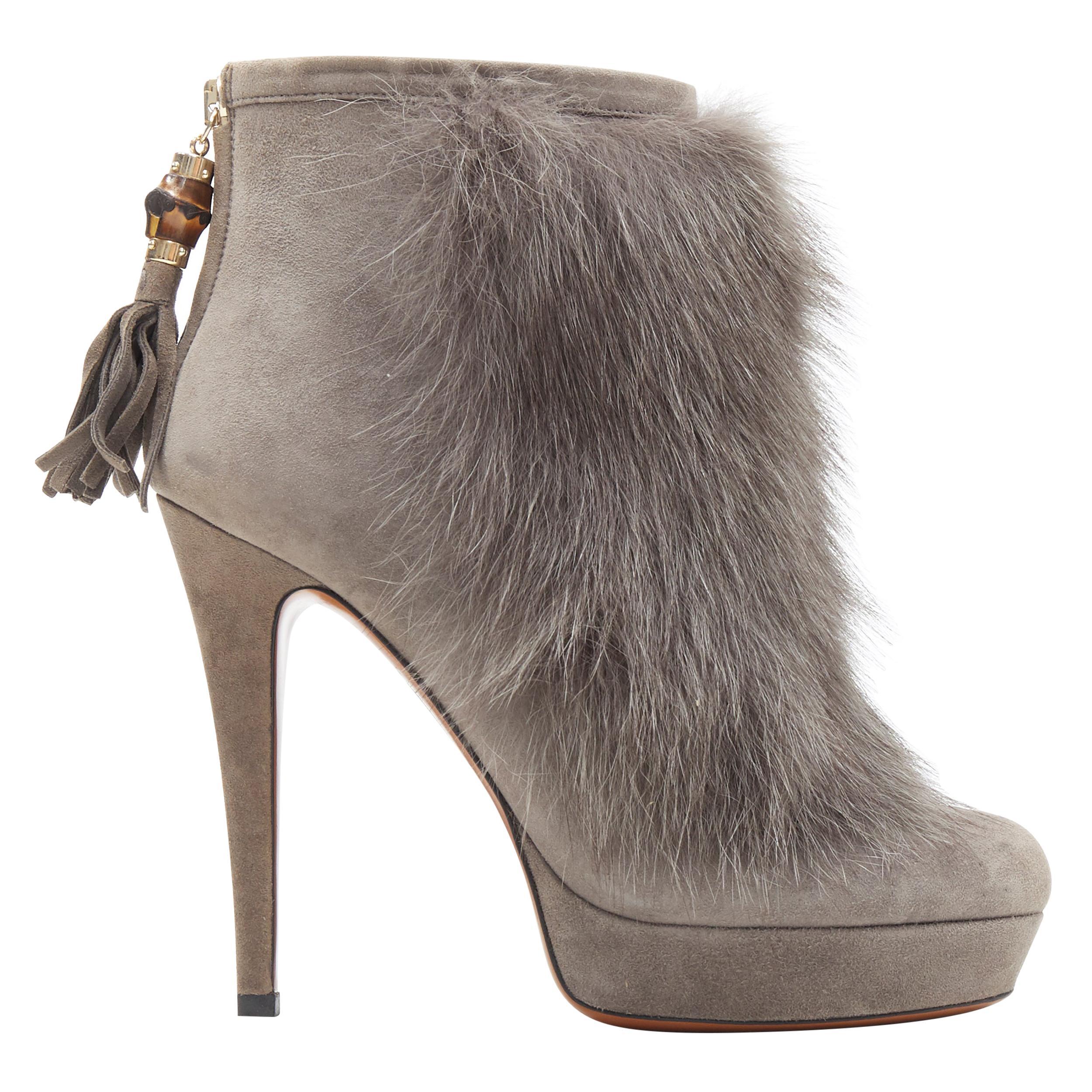 new GUCCI grey suede genuine fur bamboo tassel platform ankle bootie EU36