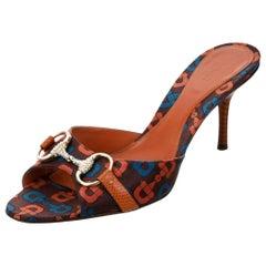 New Gucci Horsebit Lizard Swarovski Crystal Mules Heels Sz 7