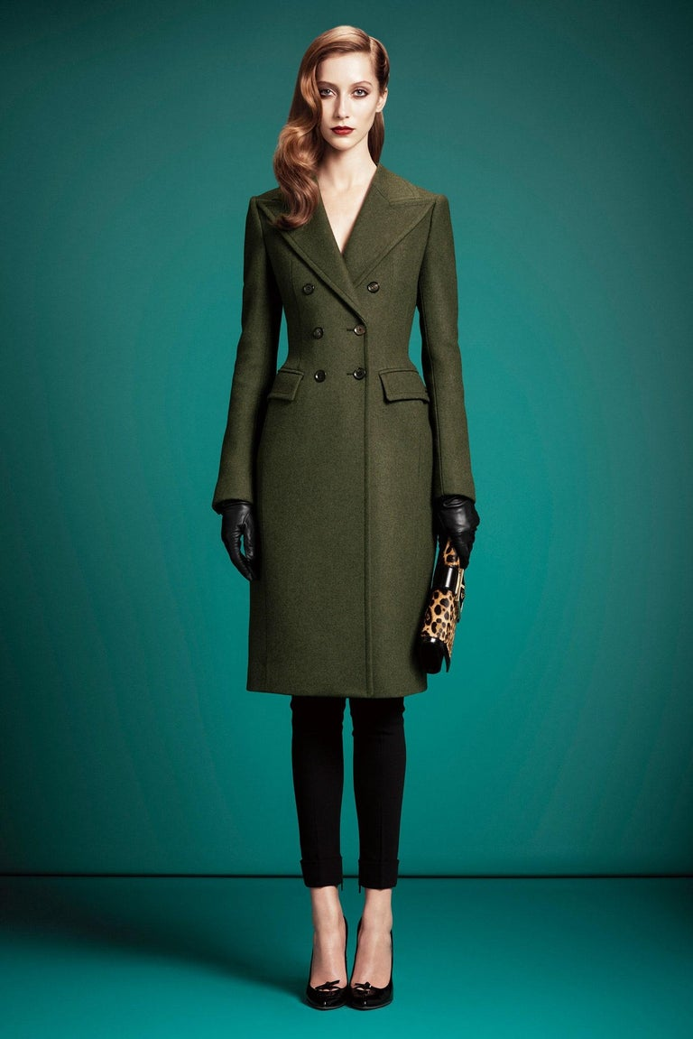 Black New Gucci Kate Upton Olive Green Wool Coat Jacket Fall 2013 With Tags $3215 For Sale