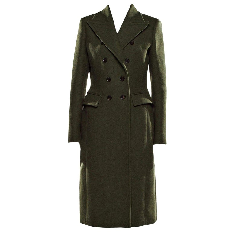 New Gucci Kate Upton Olive Green Wool Coat Jacket Fall 2013 With Tags $3215 For Sale