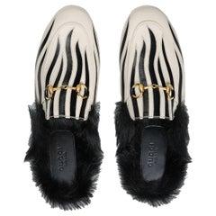New Gucci Kendall Jenner Princetown  Zebra Faux Fur Loafers Slides Flats Sz 35.5