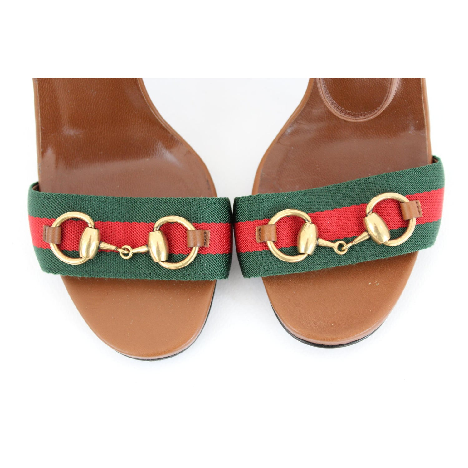 b192fa336 New Gucci Lifford Brown Leather Canvas Sandals Heels Pump Shoes at 1stdibs