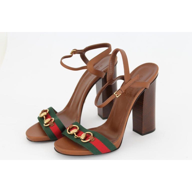a9a497748 Gucci women's shoes, lifford model, brown, 100% leather, green and red