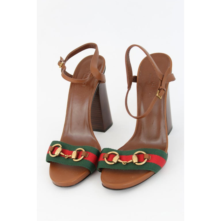 db392a02854 Women s New Gucci Lifford Brown Leather Canvas Sandals Heels Pump Shoes For  Sale
