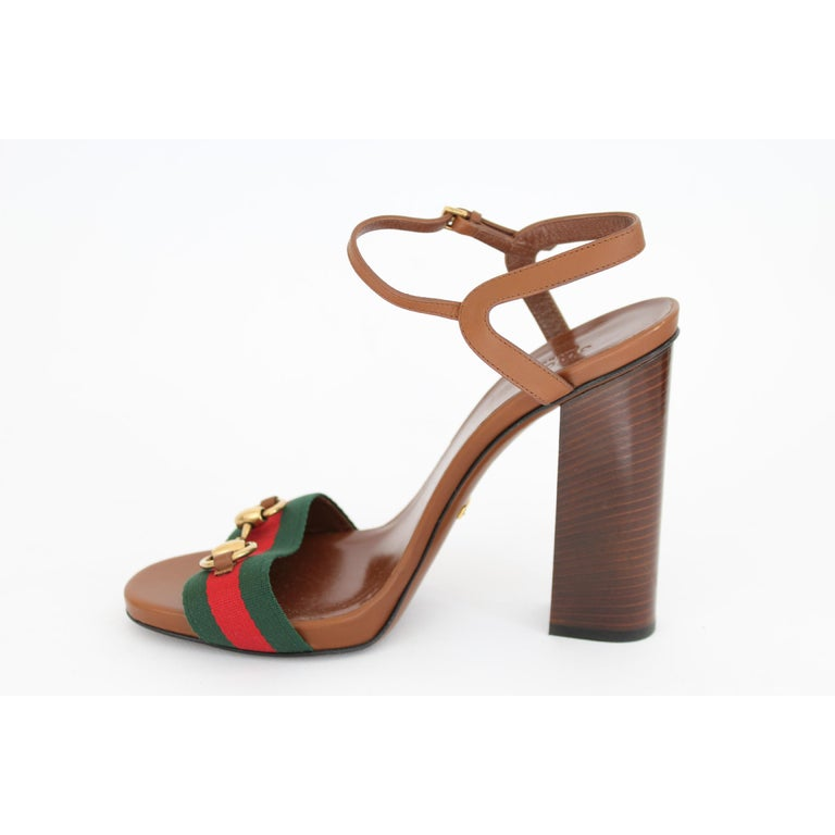 a889cbd868b New Gucci Lifford Brown Leather Canvas Sandals Heels Pump Shoes For Sale 1