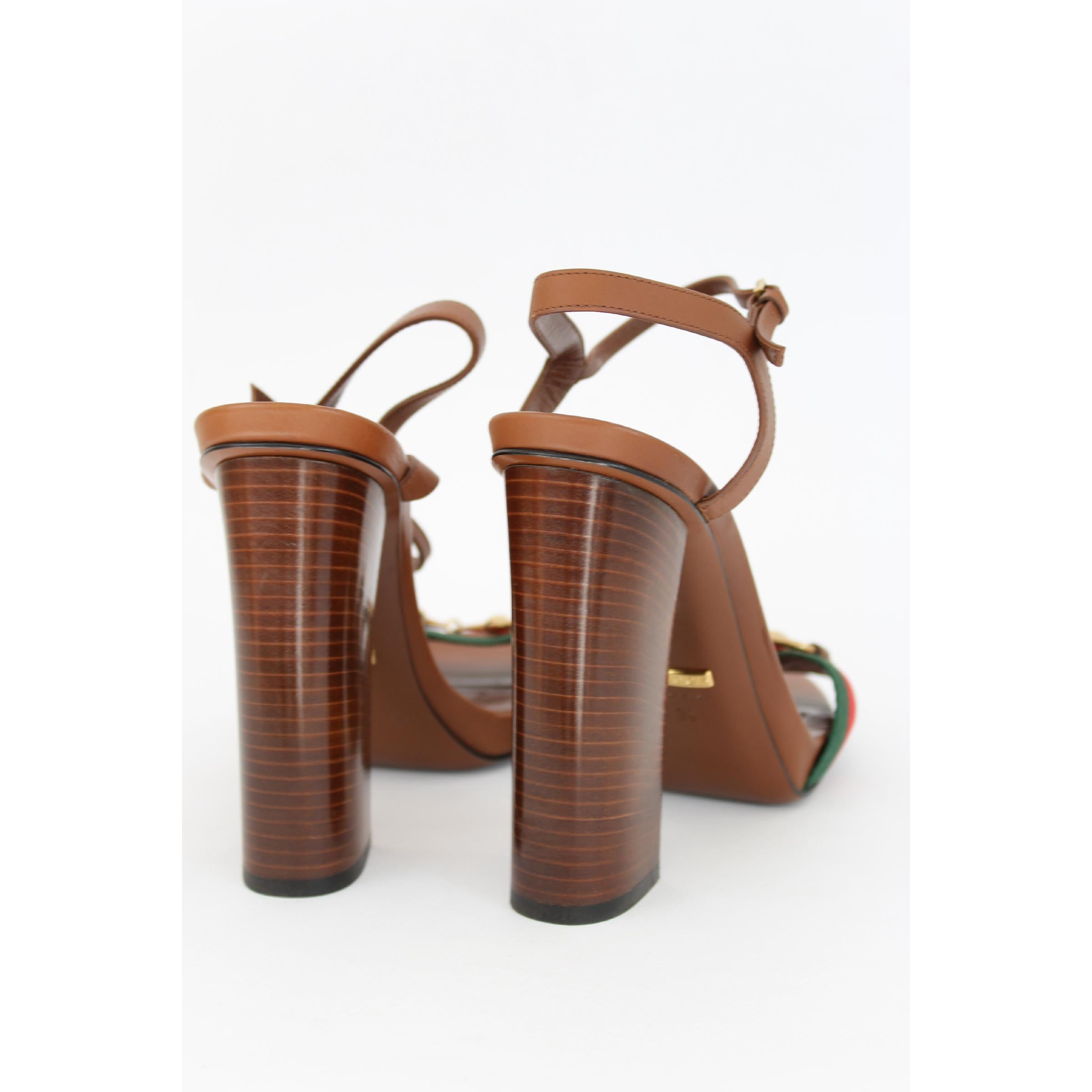 00714259942 New Gucci Lifford Brown Leather Canvas Sandals Heels Pump Shoes at 1stdibs
