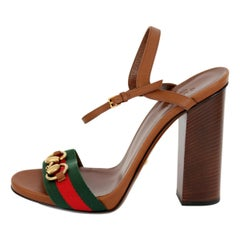 New Gucci Lifford Brown Leather Canvas Sandals Heels Pump Shoes