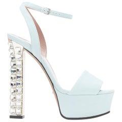 new GUCCI light blue suede jewel strass crystal heel platform sandals EU37.5