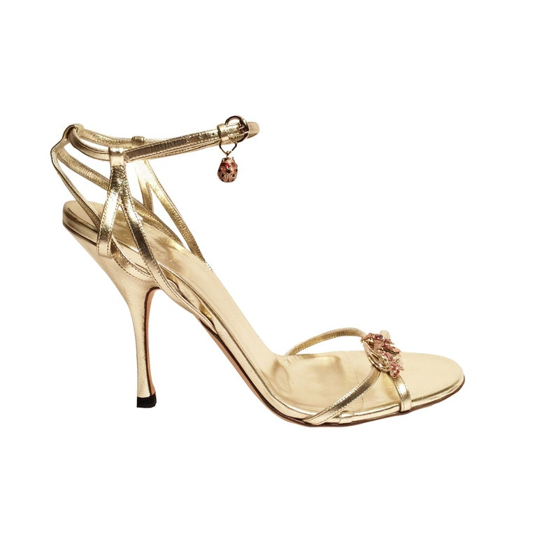 New Gucci Ltd Edition Collection Runway Gold Jeweled Heels Sz 9.5 For Sale
