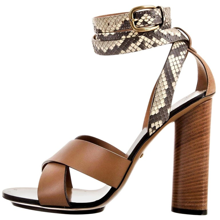 New Gucci Lykke Li Python Spring 2015 Runway Pumps Heels Sz 38.5 For Sale