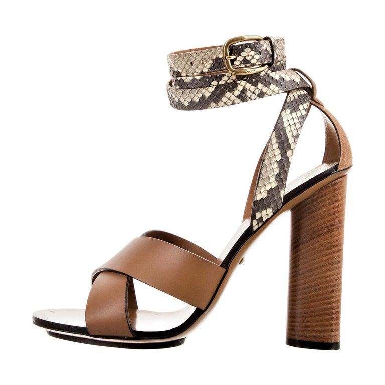 New Gucci Lykke Li Python Spring 2015 Runway Pumps Heels Sz 39.5 For Sale