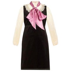 New GUCCI Macrame Lace Trimmed Velvet & Silk Dress IT40 US 2-4
