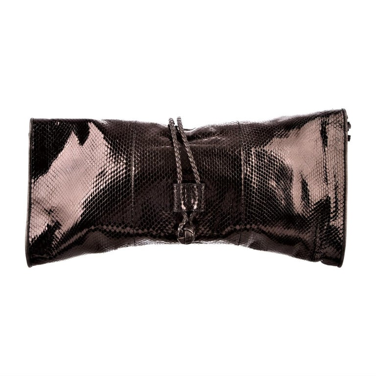 New Gucci Malika Large Python Clutch Bag in Bronze Pewter As Seen on J-Lo & Kim For Sale 3