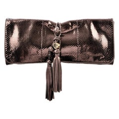 New Gucci Malika Large Python Clutch Bag in Bronze Pewter As Seen on J-Lo & Kim