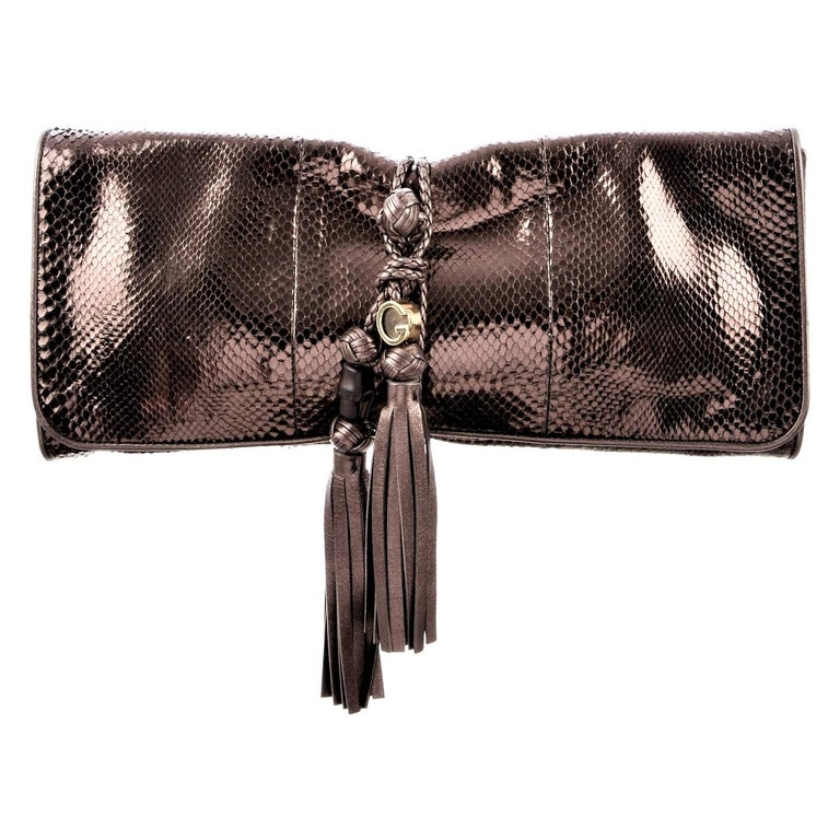 New Gucci Malika Large Python Clutch Bag in Bronze Pewter As Seen on J-Lo & Kim For Sale 5