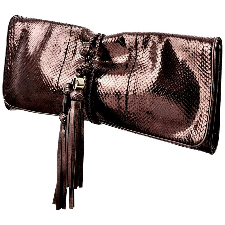 New Gucci Malika Large Python Clutch Bag in Bronze Pewter As Seen on J-Lo & Kim For Sale