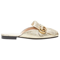 new GUCCI Marmont Platino metallic gold GG buckle fringed slip on loafers EU36.5
