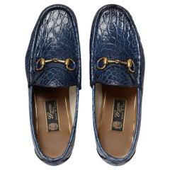 New GUCCI Men's Runway 1953 Horsebit CROCODILE Maritime Loafers 8.5