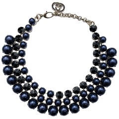 New Gucci Navy Blue Pearl Effect with Black Swarovski Crystals Necklace