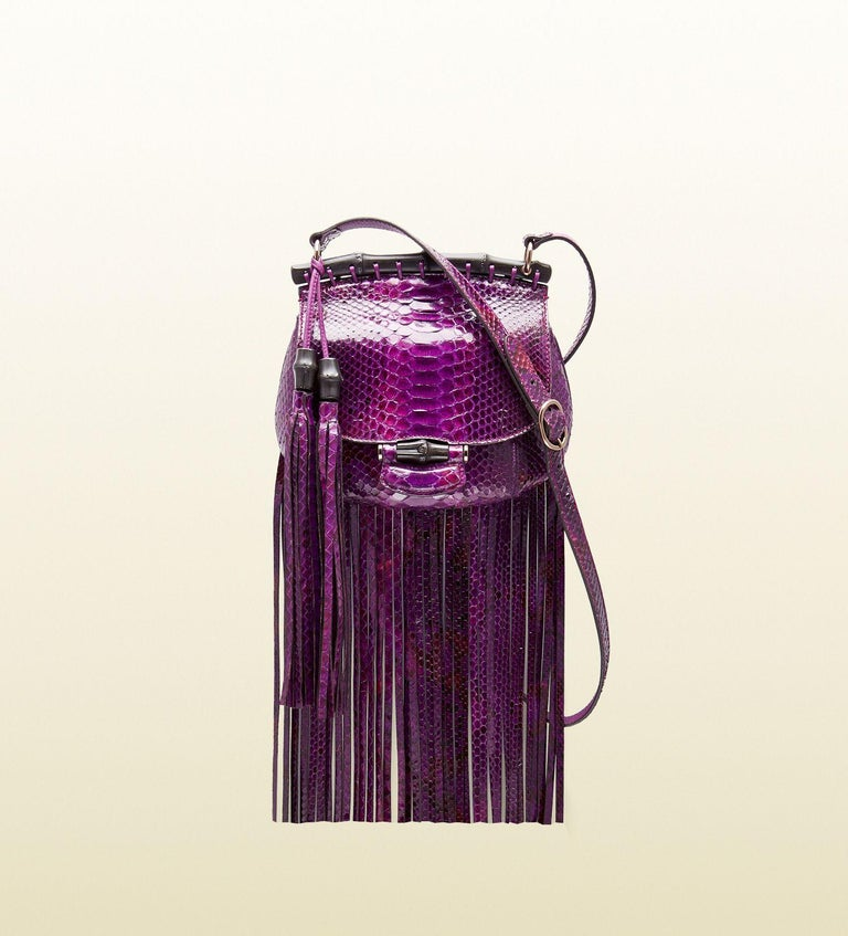 New Gucci Nouveau Python Fringe Bamboo Runway Bag in Plum $3100 For Sale 7