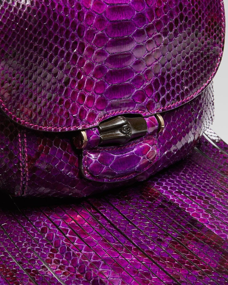 New Gucci Nouveau Python Fringe Bamboo Runway Bag in Plum $3100 For Sale 8