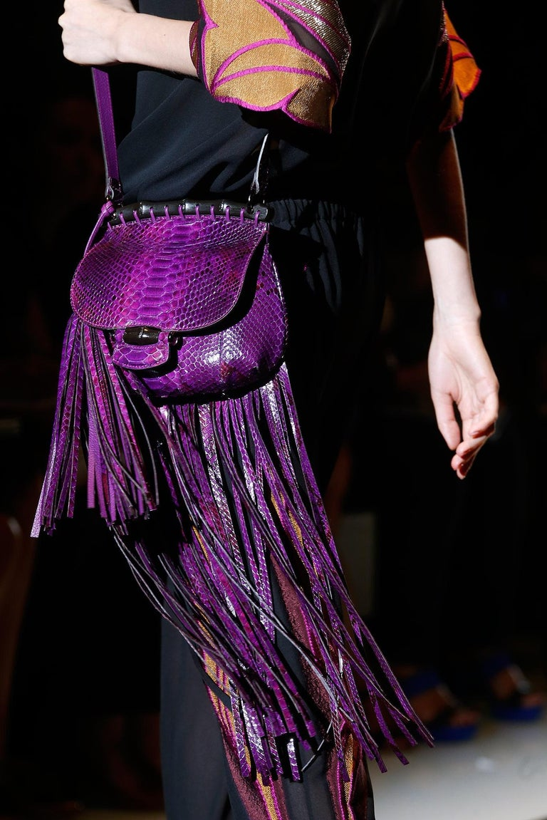 New Gucci Nouveau Python Fringe Bamboo Runway Bag in Plum $3100 For Sale 11