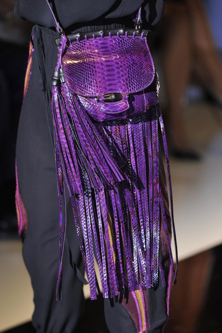 New Gucci Nouveau Python Fringe Bamboo Runway Bag in Plum $3100 For Sale 12