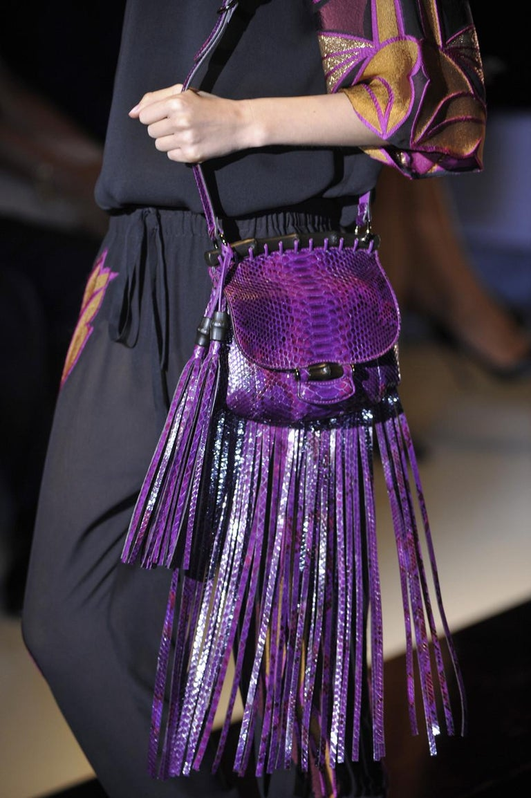 New Gucci Nouveau Python Fringe Bamboo Runway Bag in Plum $3100 For Sale 13