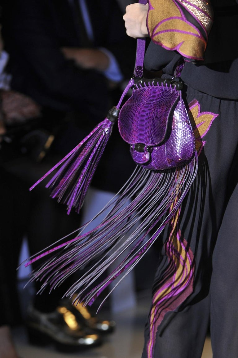 New Gucci Nouveau Python Fringe Bamboo Runway Bag in Plum $3100 For Sale 14