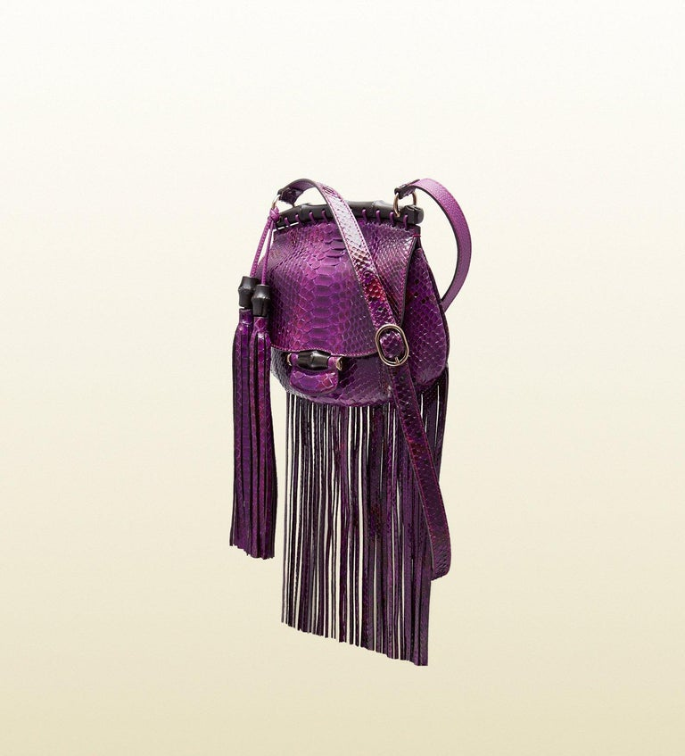 New Gucci Nouveau Python Fringe Bamboo Runway Bag in Plum $3100 For Sale 1