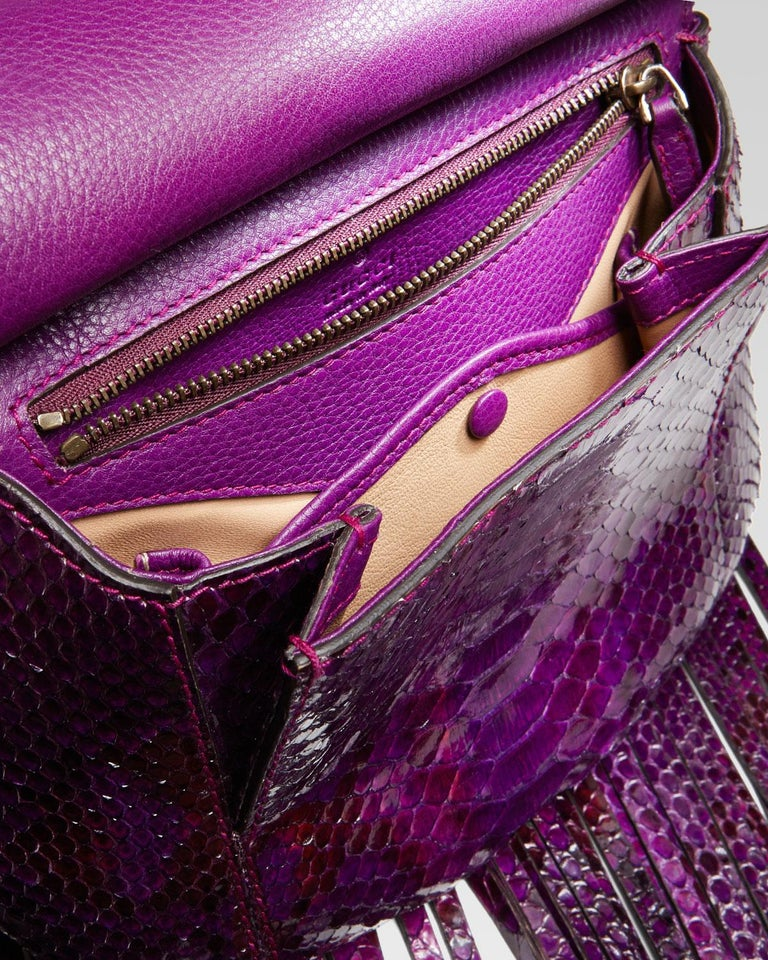 New Gucci Nouveau Python Fringe Bamboo Runway Bag in Plum $3100 In New Condition For Sale In Leesburg, VA