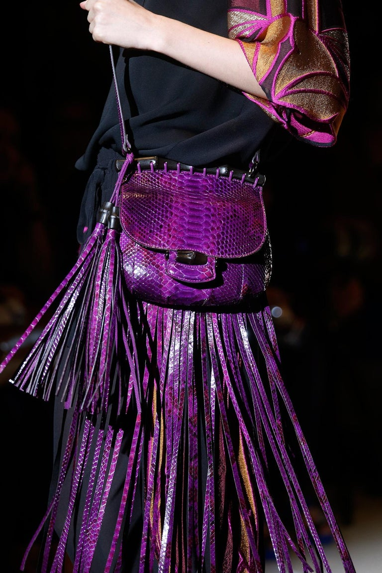 New Gucci Nouveau Python Fringe Bamboo Runway Bag in Plum $3100 For Sale 5