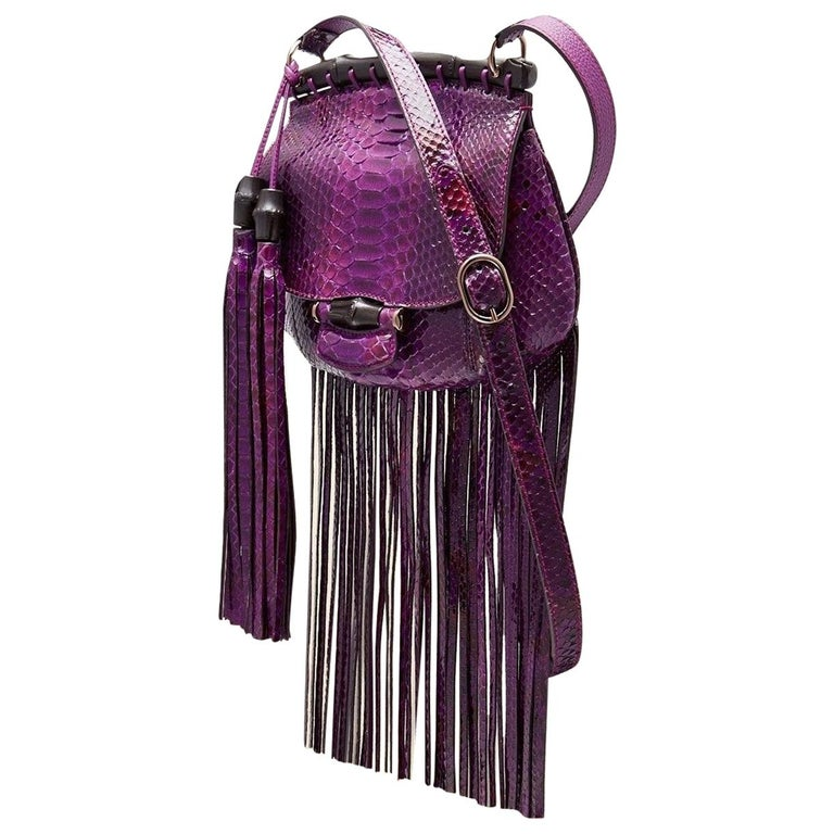 New Gucci Nouveau Python Fringe Bamboo Runway Bag in Plum $3100 For Sale