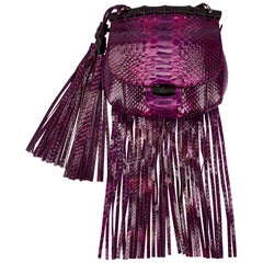 New Gucci Nouveau Python Fringe Bamboo Runway Bag in Plum $3100