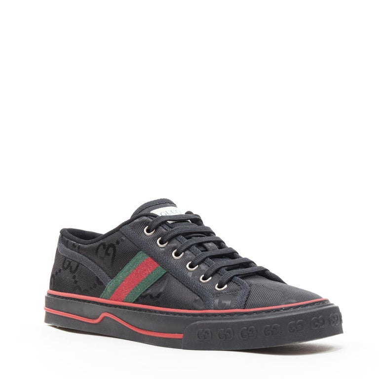 new GUCCI Off The Grid Tennis 1977 black monogram red green web sneaker UK8 Brand: Gucci Designer: Alessandro Michele Model Name / Style: Tennis 1977 Material: Nylon Color: Black Pattern: Solid Closure: Lace up Extra Detail: Part of the Gucci Tennis