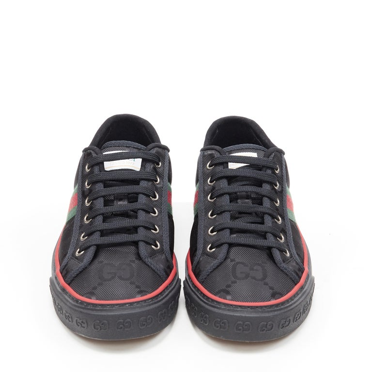 Black new GUCCI Off The Grid Tennis 1977 black monogram red green web sneaker UK8 For Sale