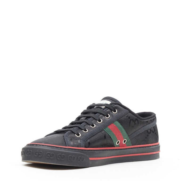 new GUCCI Off The Grid Tennis 1977 black monogram red green web sneaker UK8 In Excellent Condition For Sale In Hong Kong, NT