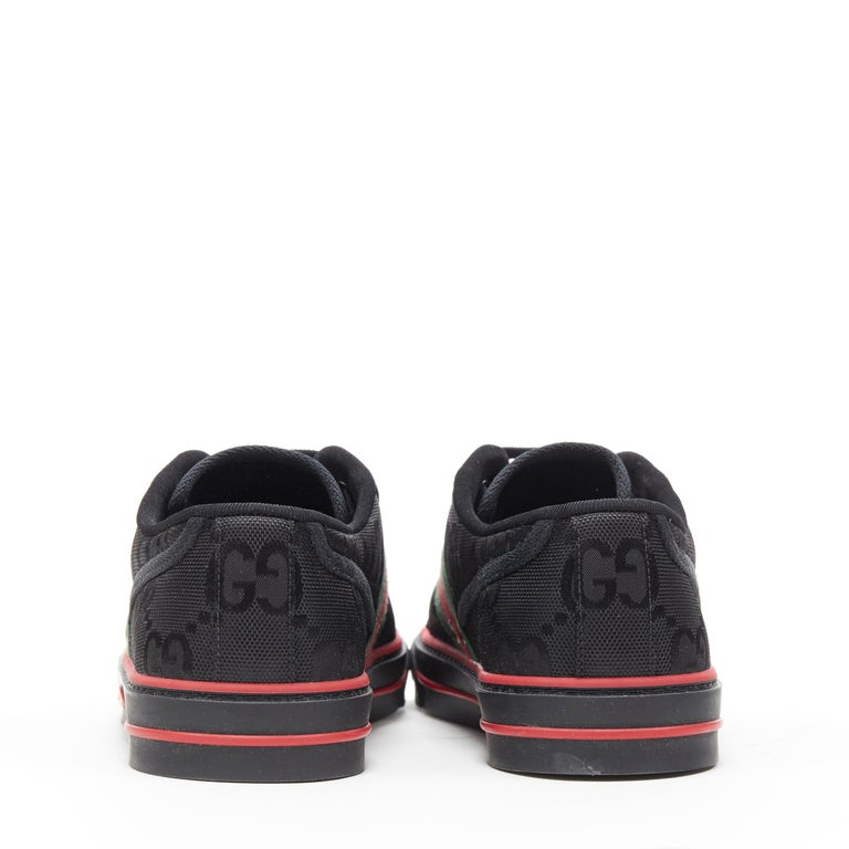 Men's new GUCCI Off The Grid Tennis 1977 black monogram red green web sneaker UK8 For Sale