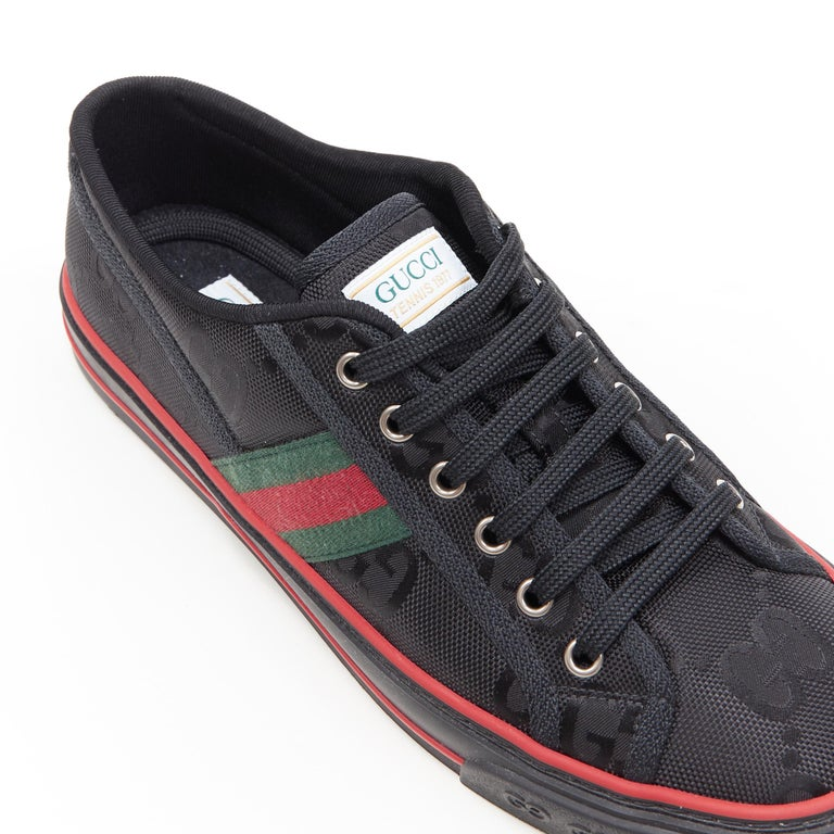 new GUCCI Off The Grid Tennis 1977 black monogram red green web sneaker UK8 For Sale 2