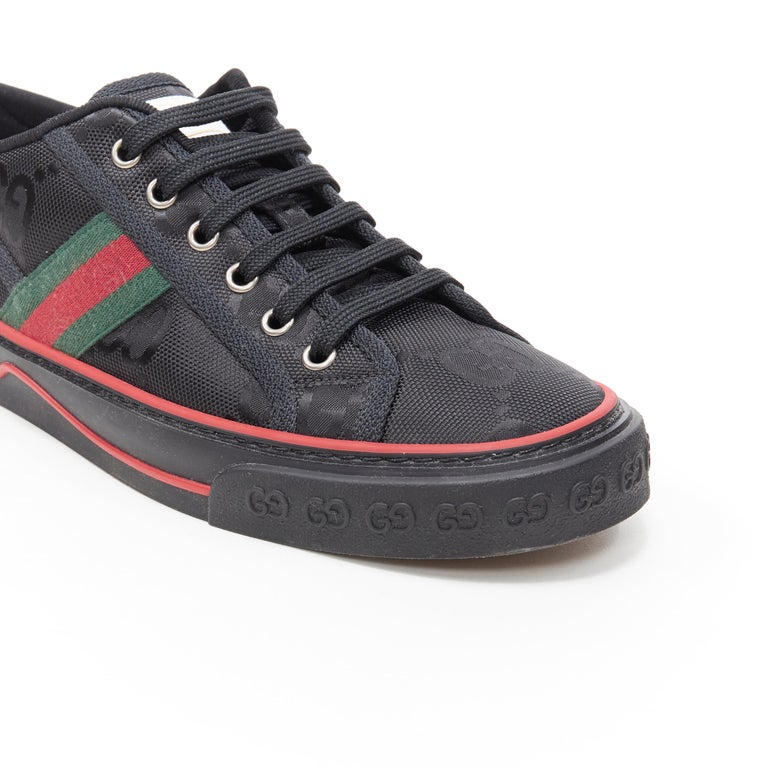 new GUCCI Off The Grid Tennis 1977 black monogram red green web sneaker UK8 For Sale 3