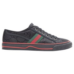 new GUCCI Off The Grid Tennis 1977 black monogram red green web sneaker UK8