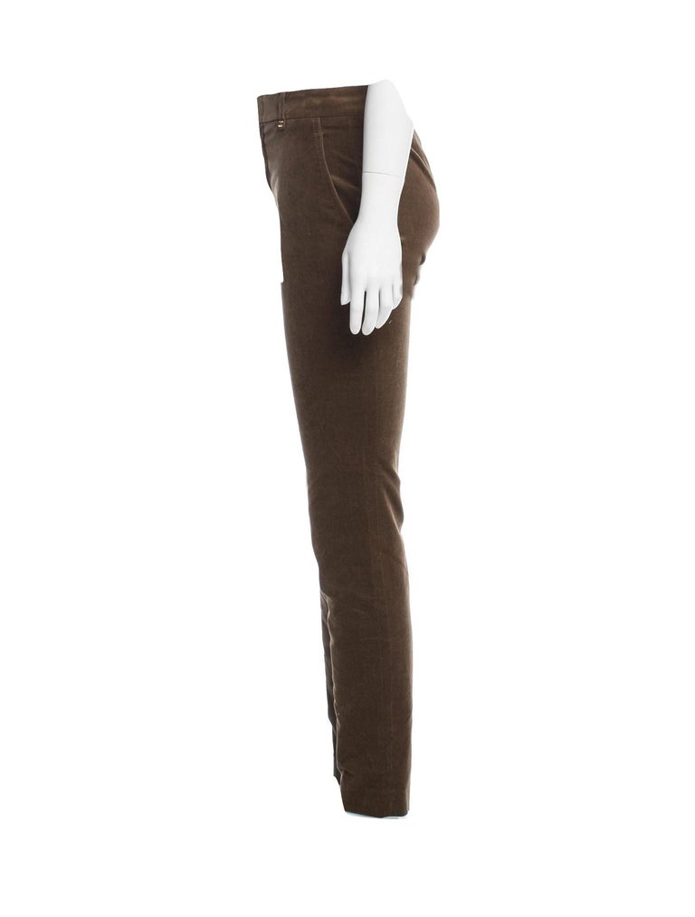 New Gucci Olive Brown Velvet Runway Pants Pre-Fall 2011 Sz 38 $1499 In New Condition For Sale In Leesburg, VA
