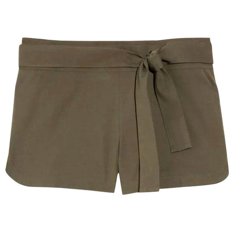 NEW Gucci Olive Hot Pants Shorts with Bamboo Detail Belt For Sale