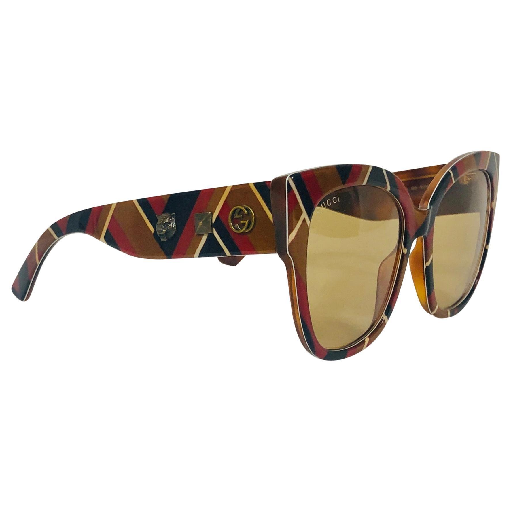 New Gucci Oversize Ladies Chevron Pattern Studded Sunglasses GG0059S 003 55