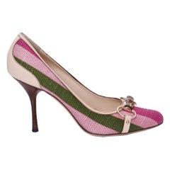 New Size 9.5 Gucci Pink & Green Stripe Bamboo Web Horsebit Pumps Heels
