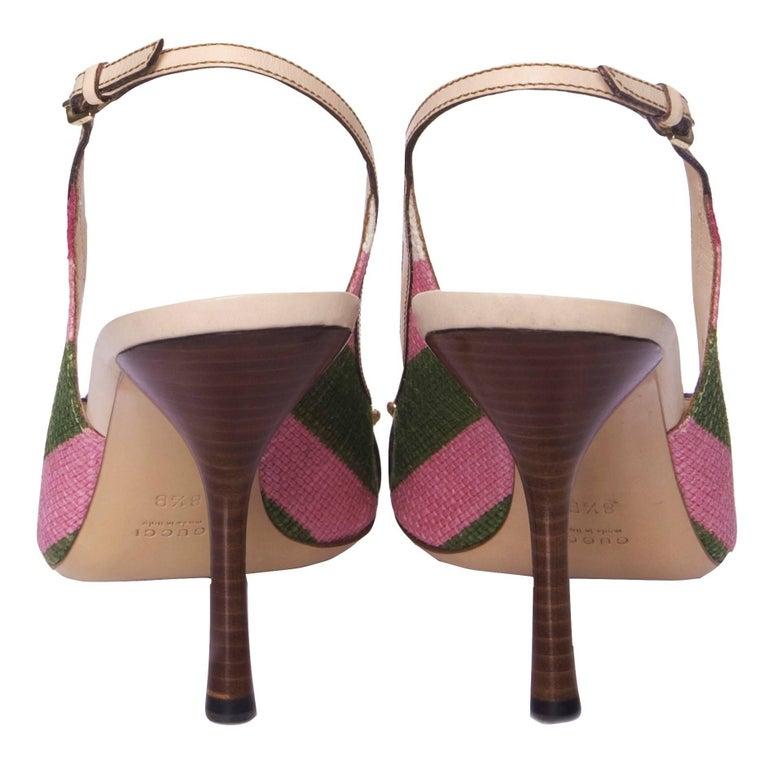 4eb0ac1c8 New Gucci Pink & Green Striped Bamboo Web Horsebit Slingback Heels Size 8.5  For Sale 1