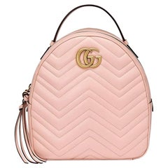 New GUCCI Pink GG Marmont Leather Backpack
