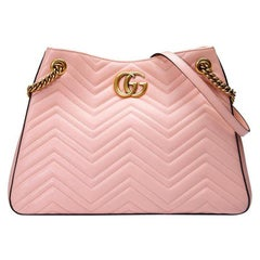New GUCCI Pink GG Marmont Matelasse Leather Shoulder Bag